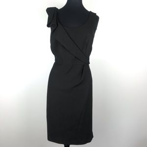 Ann Taylor Loft Black Ruffle Sheath Dress Size 10